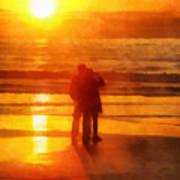 Beach Sunrise Love Art Print