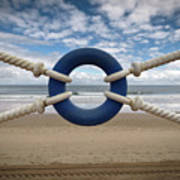 Beach Through Lifeguard Tied With Ropes Print by Carlos Ramos
