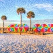 Beach Umbrella Lineup Art Print by Michael Garyet
