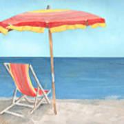 Beach Umbrella Of Stripes Art Print