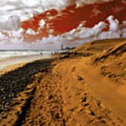 Beach Under A Blood Red Sky Art Print