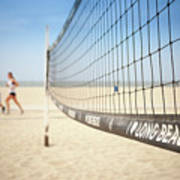 Beach Volleyball Net On The Sand At Long Beach, Ca Art Print