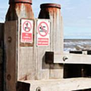 Beach Warning Art Print