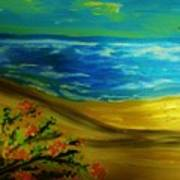Beach With Flowers Art Print