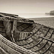 Beached At Brighton In Sepia Art Print