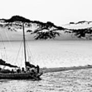 Beached At Coorong Bw Art Print