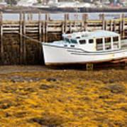 Beached Boat During Low Tide In Nova Scotia Canada Art Print