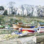 Beached Boats Dysart Art Print