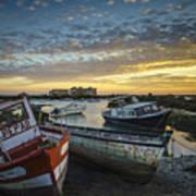 Beached Boats On Trocadero Pipe Puerto Real Cadiz Spain Art Print