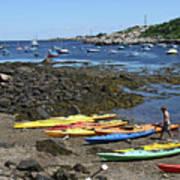 Beached Kayaks At Rockport Harbor Art Print