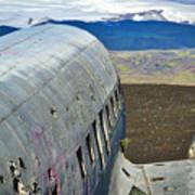 Beached Plane Wreckage - Iceland Art Print