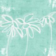 Beachglass And White Flowers 3- Art By Linda Woods Art Print