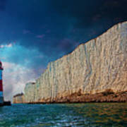 Beachy Head Lighthouse And Cliffs Art Print