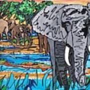 Beaded Elephant Art Print