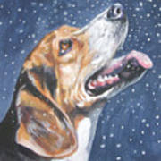 Beagle In Snow Art Print