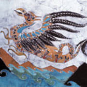 Beaked Dragon Flies Above The Sea Print by Carol  Law Conklin