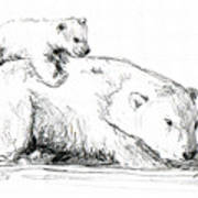 Bear And Cub Art Print