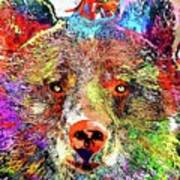 Bear Colored Grunge Art Print