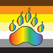 Bear Colors With Rainbow Paw Art Print