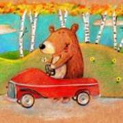 Bear Out For A Drive Art Print