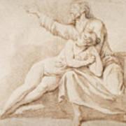 Bearded Man Embracing A Young Woman Art Print