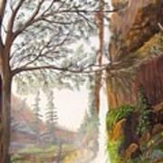 Bears At Waterfall Art Print