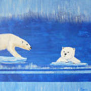 Bears In Global Warming Art Print