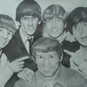 Beatles With A New Friend Art Print