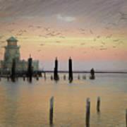 Beau Rivage Lighthouse And Marina Art Print