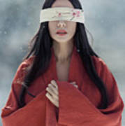 Beautiful Asian Woman With Red Sensual Lips Standing In The Snow Art Print