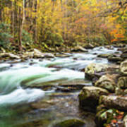 Beautiful Autumn Colors Little Pigeon River Smoky Mountains Art Print