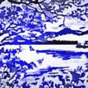 Beautiful Blue Pop Art Scene Art Print