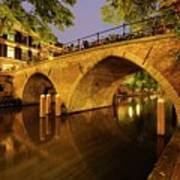 Beautiful Bridge Weesbrug Over The Old Canal In Utrecht At Dusk 220 Art Print