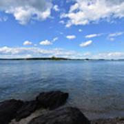 Beautiful Calm Ocean Water's In Casco Bay Maine Art Print