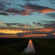 Beautiful Canal Sunset In Florida Art Print