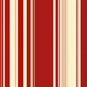 Modern Christmas Stripe Pattern Series Red Currant, Cream, Blush Art Print