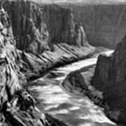 Beautiful Colorado River Page Arizona Blk Wht  Art Print