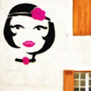 Beautiful French Woman Graffiti Art Print
