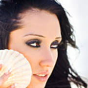 Beautiful Girl Holding A Cockle Shell Art Print