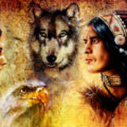 Beautiful Painting Of An Young Indian Man And Woman  Accompanied Art Print