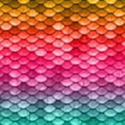 Beautiful Pastel Diagonal Rainbow Spectrum II Mermaid Fish Scales Art Print