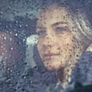 Beautiful Sad Woman In The Car Art Print