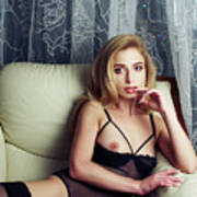 ac2c7807e Beautiful Sexy Lady In Elegant Black Lingerie Photograph by Sergei ...
