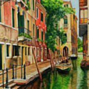 Beautiful Side Canal In Venice Print by Charlotte Blanchard