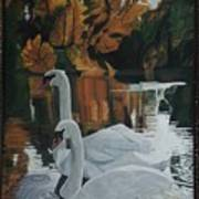 Beautiful Swans Moving In The River Path Art Print