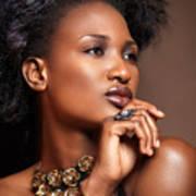 Beauty Portrait Of Black Woman Wearing Jewelry Art Print