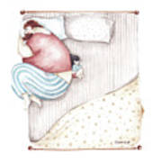 Bed. King size. Art Print