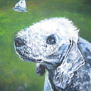 Bedlington Terrier With Butterfly Art Print