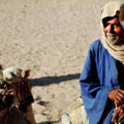 Bedouin Man In Blue Art Print by Chaza Abou El Khair