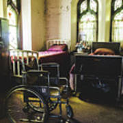 Beds And Wheelchair In Abandoned Church Art Print